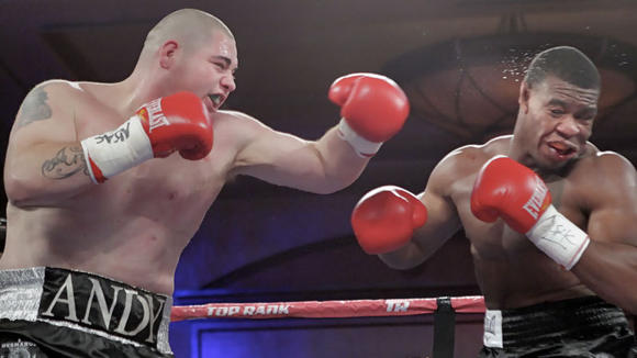 Andy Ruiz (left) delivers a shot to Elijah McCall