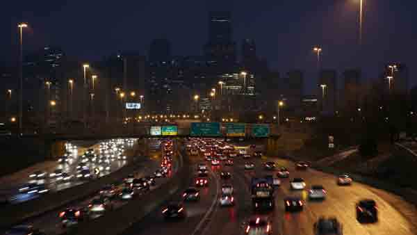 Commuters on the Kennedy Expressway this morning.