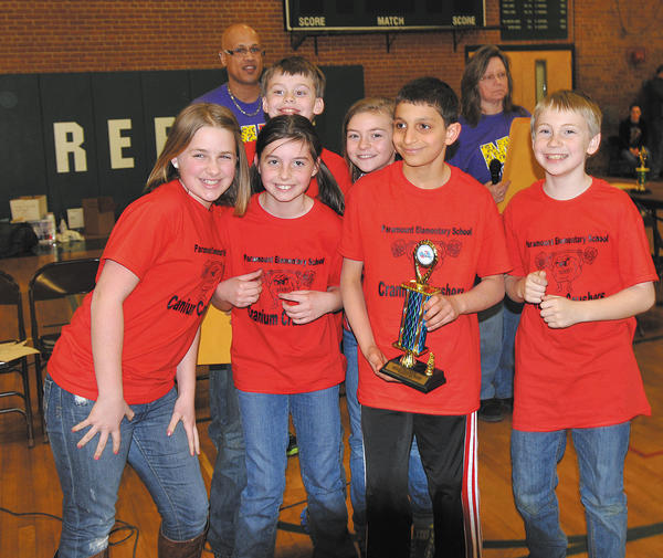 Paramount Elementary School's fifth-grade team, Paramount Cranium Crushers, placed first in the region Destination Imagination competition and will compete in the state contest Saturday, April 13 at UMBC. Front row, from left, Olivia Powell, Isabelle Shepheard, Jack Kothari and Danny Sebrosky. Back row, Matthew Healey and Kate Mikucki.