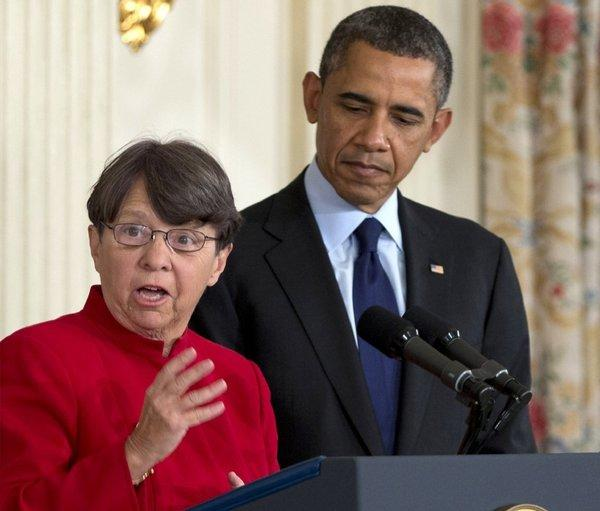 Mary Joe White and President Obama at a news conference in January during which he announced her nomination to lead the Securities and Exchange Commission.