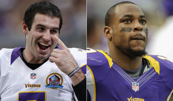 Quarterback Christian Ponder, left, remains in Minnesota, while receiver Percy Harvin has been traded to Seattle.