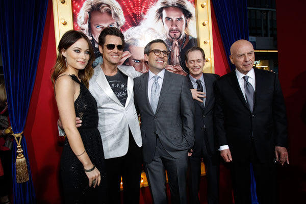 Cast members (from L-R) Olivia Wilde, Jim Carrey, Steve Carell, Steve Buscemi and Alan Arkin pose at the premiere of 'The Incredible Burt Wonderstone' in Hollywood, California March 11, 2013.