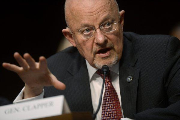 Director of National Intelligence James Clapper testifies during the Senate Intelligence Committee hearing on 'Current and Projected National Security Threats to the United States.'