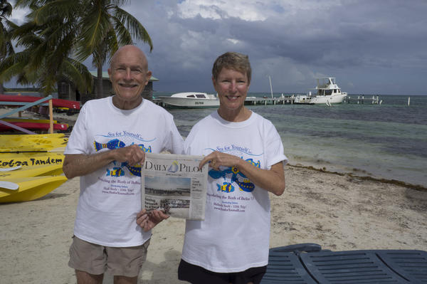 Hall and Melinda Seely in Belize at the start of their 50th wedding anniversary celebration year.  Their next stop is South Seas.