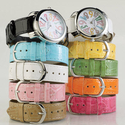 Colorful watches from Stein Mart at The Market Place in Irvine.