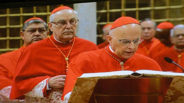 Chicago's Cardinal Francis George (right) takes the oath of secrecy that guards the conclave to elect the next pope today.