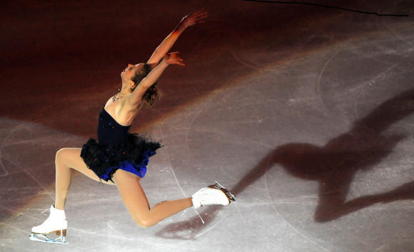 Carolina Kostner in the gala after winning her fifth European title this year.  (Attila Kisbenedek / AFP/ Getty Images)