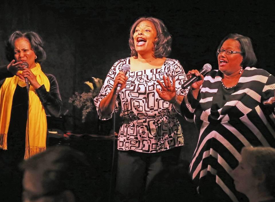 TreDiva, left to right, Elizabeth Norman, Anisha McFarland, and Jonita Lattimore, performing during Monday Night Live.