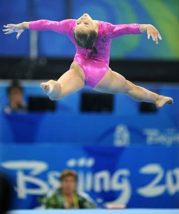 U.S. gymnast Shawn Johnson practices her floor exercise in preparation for the 2008 Beijing Olympics.