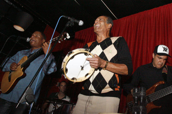 Kieber Jorge, from left, Simon Carroll, Carlinhos Pandeiro de Ouro, Leo Nobre and Munyungo Jackson perform at Mambos Cafe in Glendale. Mambos will celebrate its 25th year anniversary this September. It is a Cuban restaurant where customers can dine and watch live performance every Tuesday and Thursday. The restaurant is owned by Raul Gonzaelez, Jr. and his father, Raul Gonzalez, Sr.