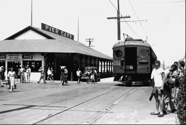 The depot at Main Street and Pacific Coast Highway, circa 1950.
