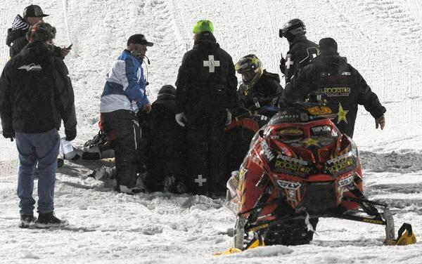 Emergency personnel tend to Caleb Moore after this accident at the January Winter X Games.