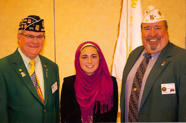 From left, William Trotter, Legion department oratorical chairman; Attiya Latif, Smithsburg High; and J.D. Larson, Legion department commander.