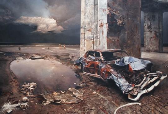 """Abandon in Place,"" a 1980 acrylic on canvas by Martin Hoffman, combines elements from different sites: a wrecked car Hoffman saw in New York, an abandoned launch site at Cape Canaveral, and surfers at New Smyrna Beach."