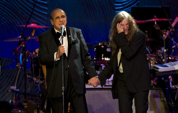 Clive Davis, with Patti Smith at a Grammy gala, will be coming to the Los Angeles area on a tour for his new book.