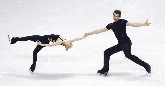 Alexa Scimeca and Chris Knierim at practice Monday.  (Mark Blinch / Reuters)