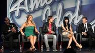 Jackson, Carey, Urban, Minaj and Seacrest attend a Fox panel for the television series 'American Idol' at the 2013 Winter Press Tour for the Television Critics Association