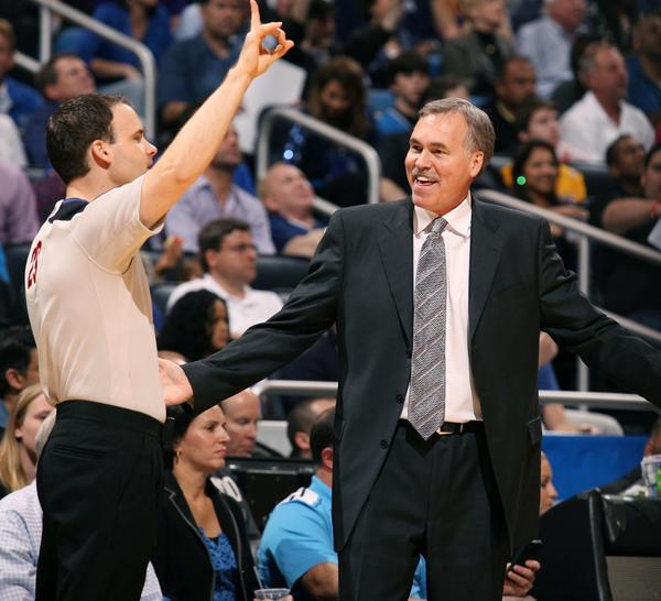 Los Angeles coach Mike D'Antoni yells at game official Mark Lindsay during the Los Angeles Lakers at Orlando Magic NBA game at the Amway Center in Orlando on Tuesday, March 12, 2013.  (Stephen M. Dowell/Orlando Sentinel)