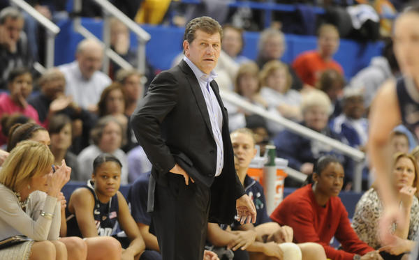 Connecticut Huskies head coach Geno Auriemma, looks on during the first half. The University of Connecticut played Notre Dame in the final game of the 2013 Big East Championship Tuesday night.