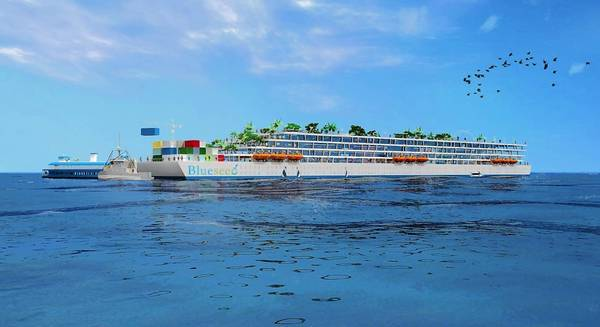 Blueseed's plan for a start-up colony in the middle of the Pacific Ocean is to park a leased cruise ship 12 nautical miles off the coast of Northern California in international waters that could house 1,000 entrepreneurs plus crew. The ship would have cafes, a gym, co-working space, ship-wide high-speed Internet access, medical professionals and a private security force. Above, a rendering of an initial marketing concept that has been replaced by plans to lease a cruise ship.