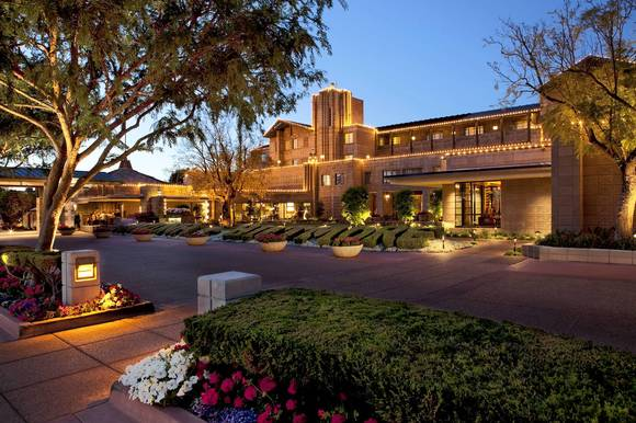 Exterior of Arizona Biltmore at night, Phoenix