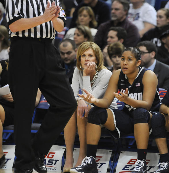 University of Connecticut forward Kaleena Mosqueda-Lewis sits on the bench after collecting her fourth foul during the second half. The University of Connecticut played Notre Dame in the final game of the 2013 Big East Championship Tuesday night.
