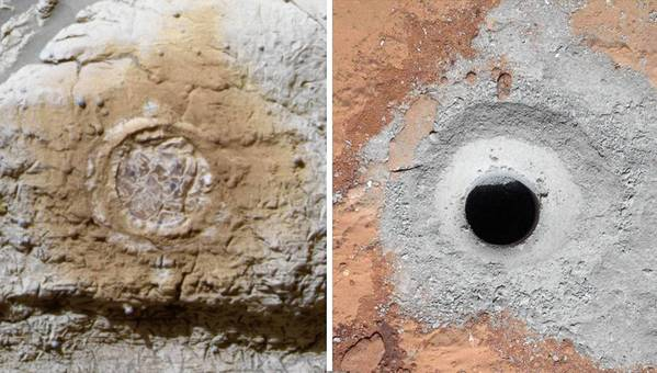As part of NASA's Mars Exploration Program, scientists have collected samples for analysis via rock abrasion by the rover Opportunity, left, and drilling by Curiosity.