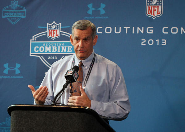 Bears general manager Phil Emery speaks at a press conference during the 2013 NFL Combine.