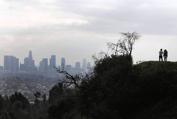 A walk along North Vermont Canyon and Commonwealth Canyon Drive yields fine views of downtown Los Angeles. This year, for the first time, native-born residents of L.A. County will outnumber those who moved here, a new report says.