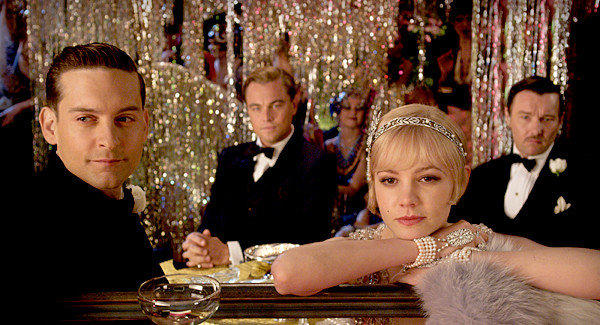 "Tobey Maguire as Nick Carraway, Leonardo DiCaprio as Jay Gatsby, Carey Mulligan as Daisy Buchanan and Joel Edgerton as Tom Buchanan in ""The Great Gatsby."""