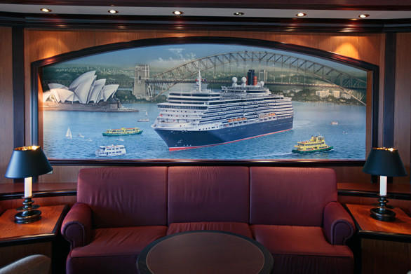 A painting of the Queen Elizabeth in Sydney Harbor.