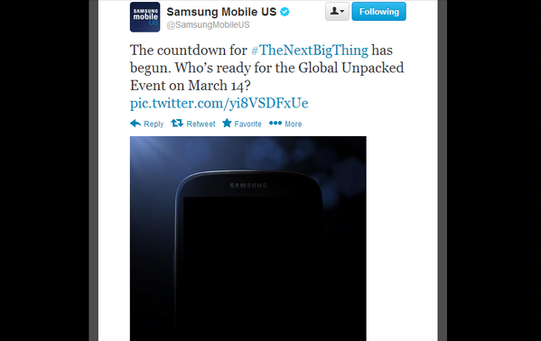 Samsung posted this teaser image of the Galaxy S IV on Twitter to promote the smartphone's launch event Thursday.