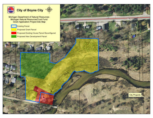The City of Boyne City is considering purchasing this piece of property (in yellow) on the Boyne River for its waterfront park system.