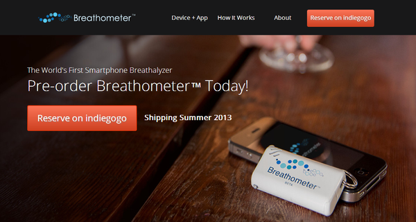 The Breathometer device plugs into a smartphone and tests a user's blood-alcohol concentration.