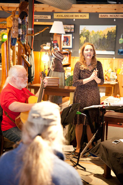 Gaeyle Gerrie (standing) and fellow Celtic musicians perform recently at Freshwater in Boyne City.