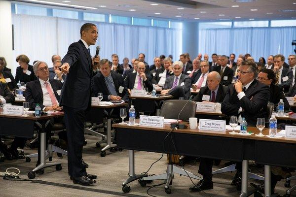 President Obama answering questions at a meeting in December of the Business Roundtable in Washington.