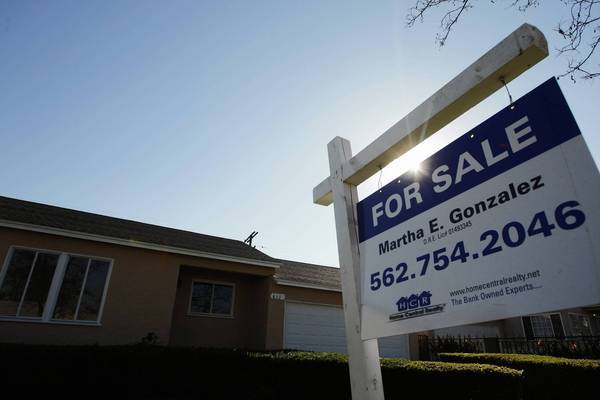 Southern California saw home prices up sharply in February from a year earlier. Above, a home for sale in Compton.