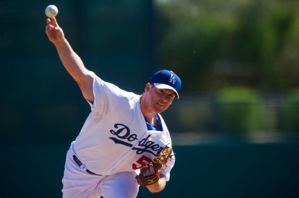 Chad Billingsley, shown here earlier in spring training, pitched a five-inning simulated game Wednesday.