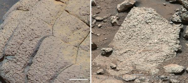 This set of images compares rocks seen by NASA's Opportunity rover and Curiosity rover at two different parts of Mars. On the left is Wopmay rock, in Endurance Crater, Meridiani Planum, as studied by the Opportunity rover. On the right are the rocks of the Sheepbed unit in Yellowknife Bay, in Gale Crater, as seen by Curiosity. The rover's first drilled rock revealed signs of a past habitable environment.