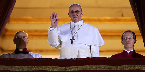 Newly elected Pope Francis I appears on the balcony of St. Peter's Basilica. (Peter Macdiarmid/Getty Images)