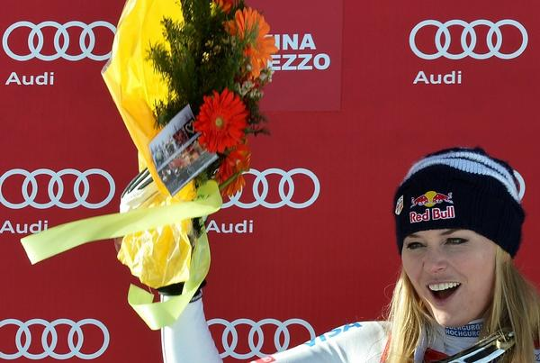 Lindsey Vonn celebrates after winning a downhill race in January.