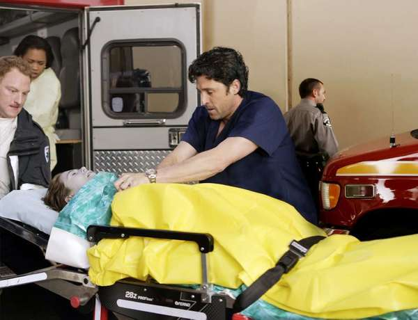"Patrick Dempsey performs chest compressions in a scene from ABC's ""Grey's Anatomy""; family members should be invited to watch as doctors perform CPR on their dying loved ones, a new study finds."