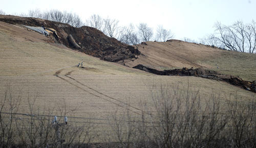 Landslide at Chrin property Wednesday.