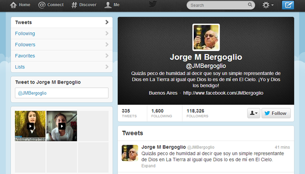 A Twitter account purporting to belong to the new pope, Jorge M. Bergoglio, is actually fake, Twitter says.