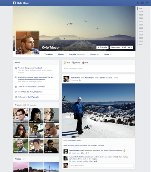 Facebook's redesigned Timeline features a cleaner layout.