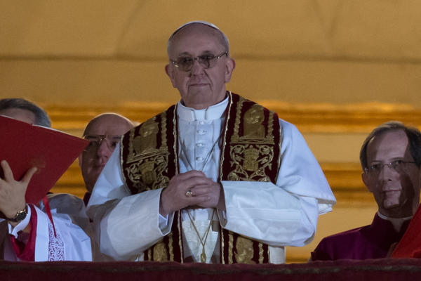 Argentina's Jorge Bergoglio, elected pope, appears at St. Peter's Basilica in Vatican City.
