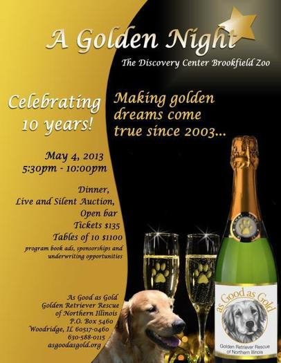Help Rescued Goldens! Don't Miss A Golden Night at Brookfield Zoo on May 4!