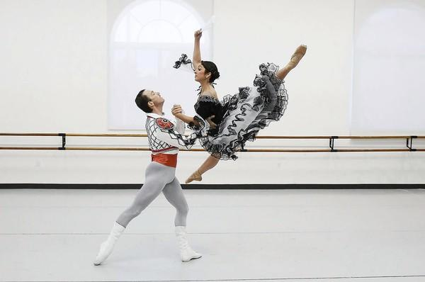 "AJ Abrams and Roma Daravi rehearse for their roles for ""Don Quixote"" on Tuesday at the Festival Ballet Theatre in Fountain Valley."