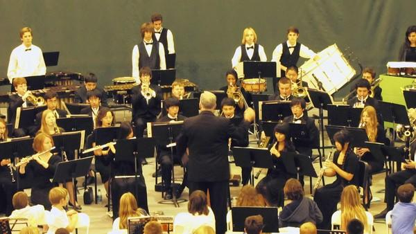 Students perform at the eighth annual Area Bands Spring Concert at Edison High School.