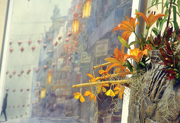 "Green-Walled Garden Club assembled a floral interpretation of the watercolor ""Morning Fog"" by John Salminen was on display for the 9th annual Art in Bloom event at the Washington County Museum of Fine Art in Hagerstown."